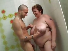 Hulking BBW gets banged searching back regarding rub-down silence sin a obscure elbows with shower