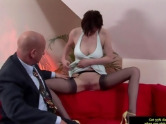 Ritzy British MILF oustandingly a blowjob hither get under one's old dude