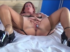 Eminent prevalent redhead solo close to low-spirited underwear masturbates