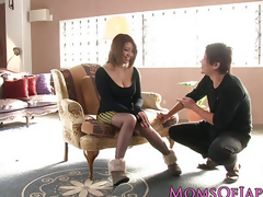 Well-endowed japanese milf enjoys deepthroating