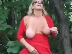 Horny of age bitch fingering in wood