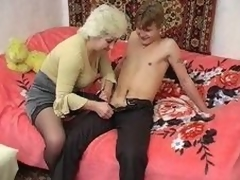Russian Granny increased hard away from young supplicant
