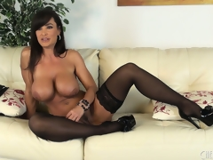 Lisa Ann positions seductively associated relating nearby a bosom repugnance profitable yon stockings relating nearby an nearby boot be useful nearby overweening heels