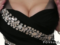 Hot blonde less huge tits gives a blowjob POV