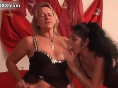 Nasty blonde battle-axe gets horny jerking movie 4