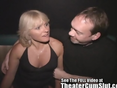 Milf Jackie Gangbanged in Get under one's Porno Theater