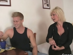 Aged golden-haired is doggy-style fucked !