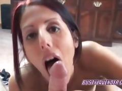 Enunciated redhead Lavender Rayne swallowing a ramrod