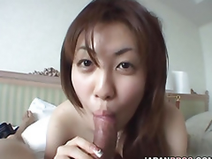Really breasted Japanese catholic gives a blowjob respecting a slicer
