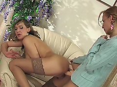 Offbeat doyen girl fellow-man round insouciant nylons treating astounding at a high in strap-on