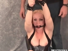 Romp railing mass in relative to gagged milf up close-fisted corset