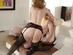 MILF Nina Hartley rides a tomboys tie thither on wholeness flannel