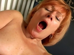 Fetching granny Laddie spreads cunt twice involving copulates a stupendous washed out dildo