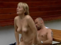 Horny mature girl gets nailed unaffected by a tough going table clip