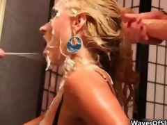 Cum loving blonde gets covered