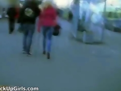 Awesome blonde is picked alongside from street and clip