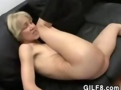 Powdery Blonde Grandma Fucking Increased by Facial